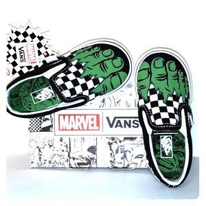 NWT Van's Baby Checkered Marvel Hulk Slip on Sz 5